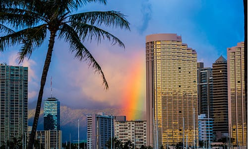 Rainbow Sunset Waikiki Magic Island Oahu Hawaii